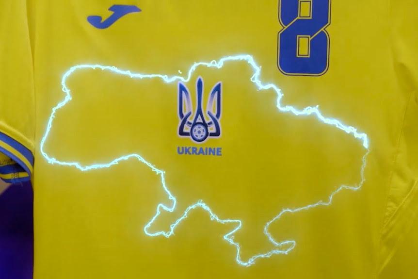 Ukrainian national soccer team kit with an outline of Ukraine, including Crimea