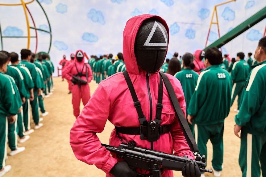 A person in a pink outfit with a triangle on their black mask holds a gun.